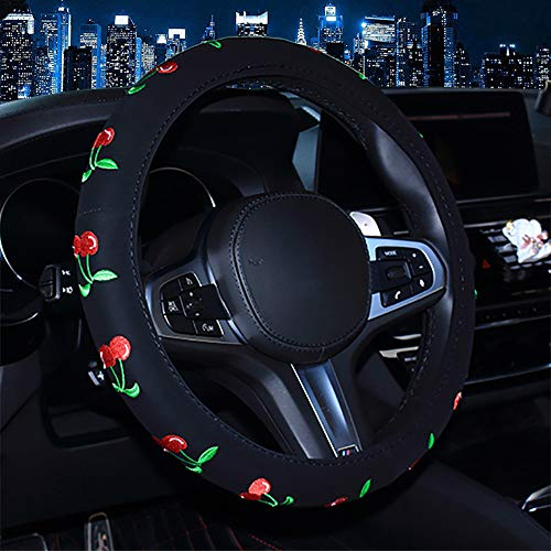 Wheel Steering Cherries Cover - Nubuck Auto Car Steering Wheel Cover with Embroidery Pattern for Women Girls Ladies,Universal 15 inch,Non-Slip,Odorless,Durable,Warm in Winter Cool in Summer,Easy to Install (Cherry Style)