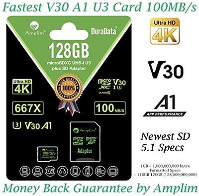 Amplim 256GB 128GB 64GB 16GB Micro SD SDXC V30 V10 U3 A1 Memory Card Plus Adapter Pack (Class 10 UHS-I MicroSD XC Extreme Pro) 64 GB Ultra High Speed 667X 100MB/s UHS-1 TF MicroSDXC 4K Video