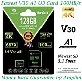 128GB Micro SD Card Plus Adapter. Amplim V30 A1 100MB/s 667X MicroSDXC Memory Card Pack 128 GB (Class 10 U3 UHS I XC) MicroSD Card 128G SDXC TF Card - Cell Phone, Drone, Camera, GoPro Hero 7