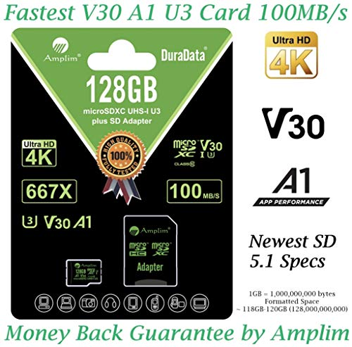 128GB Micro SD Card Plus Adapter - Amplim V30 A1 100MB/s 667X MicroSDXC Memory Card Pack 128 GB (Class 10 U3 UHS I XC) MicroSD Card 128G SDXC TF Card - Cell Phone, Nintendo, Camera, GoPro, Fire, DJI (Best 128gb Micro Sd Card)
