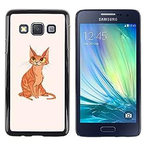 Shell-Star Arte & diseño plástico duro Fundas Cover Cubre Hard Case Cover para Samsung Galaxy A3 / SM-A300 ( Cat Yellow Ginger Orange Art Drawing Eyes )