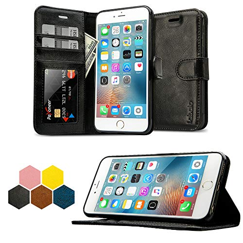 iPhone 6S Plus Wallet Case, Labato Genuine Leather Folio Flip Case Cover Magnetic Stand Function with Card Slots/Cash Compartment for Apple iPhone 6 Plus/ 6S Plus 5.5- Black (lbt-I6U-05Z10)