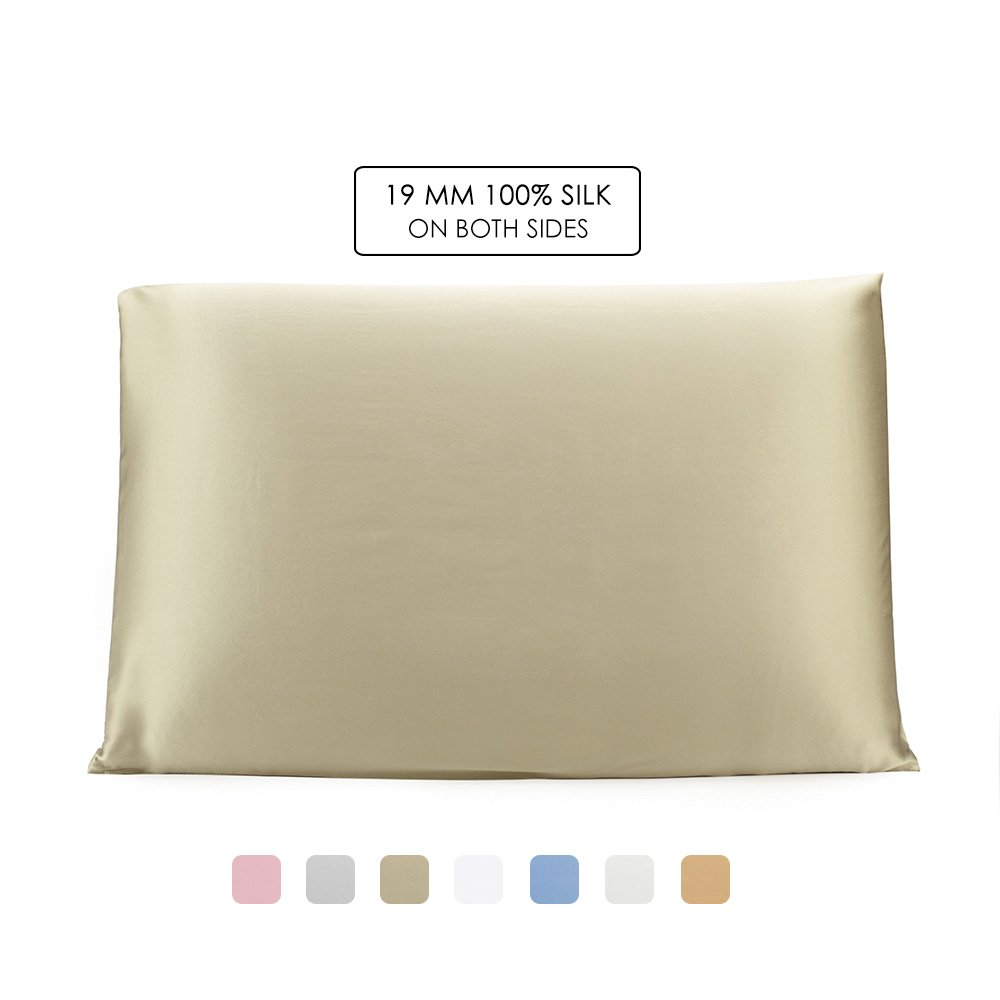 OleSilk 100% Mulbery Silk Pillowcase with Hidden Zipper for Hair and Skin Beauty,Both Sides 19mm Charmeuse Gift Box - Taupe, Toddler