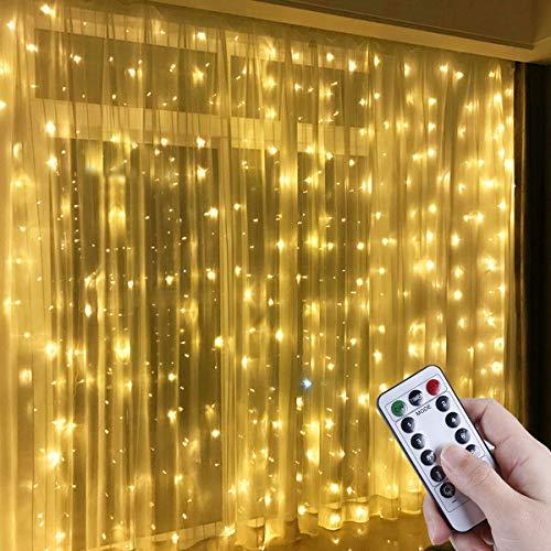 Anpro Luz Cadena Luz de Cortina USB, con 300 Bombillas LED, 8 Modos, Blanca Calida, 3x3 m
