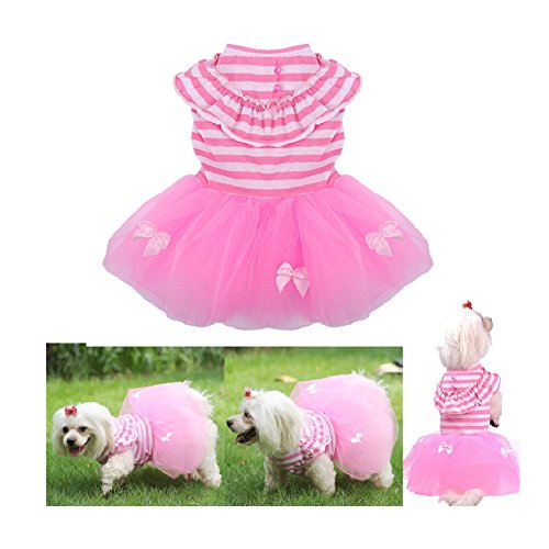 Stock Show 1Pc Summer Sweet Style Pet Dog Striped Tutu Skirt Dog Cat Spring Summer Dress Short Cute Female Girl Pink Princess Dog Party Wdeeing Dresses Applique Pet Clothes 2018 Stock Applique