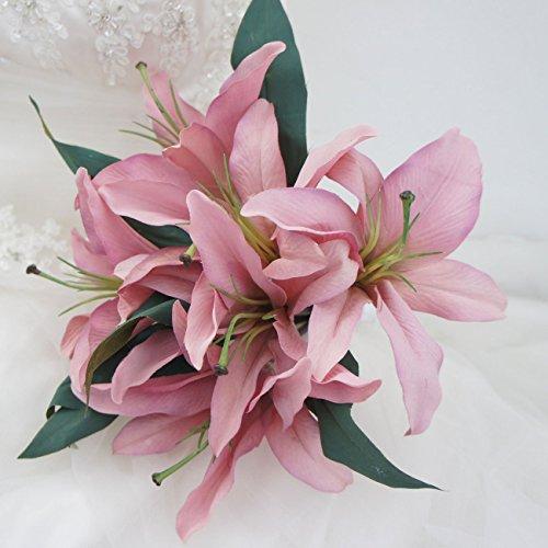 Lily Garden Artificial Vintage Lily Flower Bouquet Arrangement (Pink)