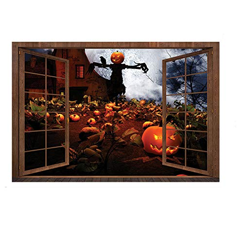 Halloween Wall Decor Vivid Pumpkin Wall Cracked Floor Scary Wall Sticker Decal Removable Home Decoration Art (HW-007)