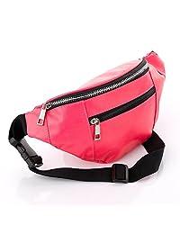 Pink Faux Leather Waist Bag Fanny Pack Money Bum Bag Hip Belt