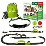TAKE YANKEE Hands Free Dog Leash for Running +Training Leash Walking & Double Dog Leash Coupler Set, Fits 2 Dogs - Bungee Leash & Reflective Leash - Adjustable Waist Belt & Retractable Leashes