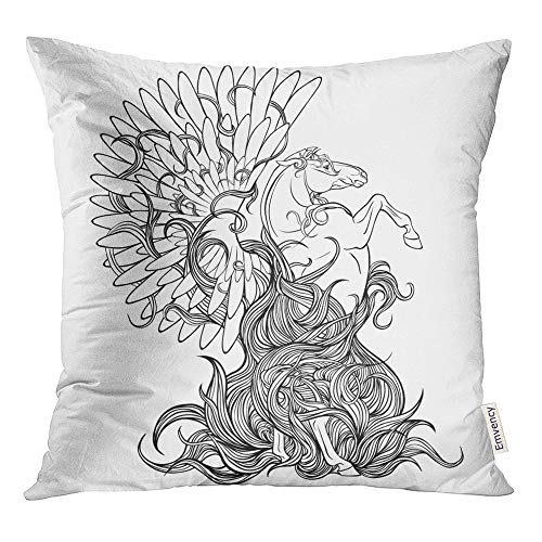 Emvency Throw Pillow Covers Decorative Cases Blue Abstract Page Coloring with Mythical Pegasus Animal Antiquity Beautiful 16x16 Inch Cover Cushion Pillowcase Square Case Print ()