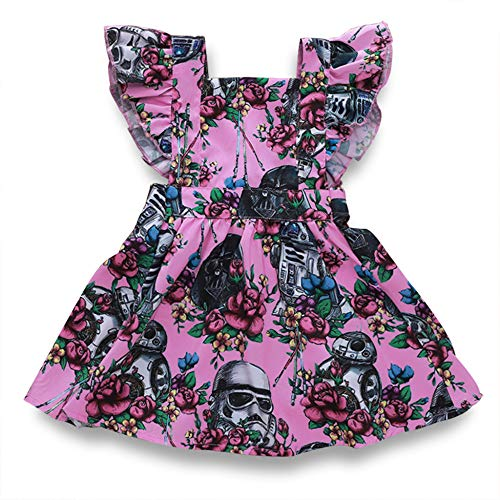 MSDMSASD Toddler Dresses Baby Girls Kids Clothes Ruffle Flower Dress Star Wars Tutu Dress Summer Sundress(6M-4T)(Pink,90)]()