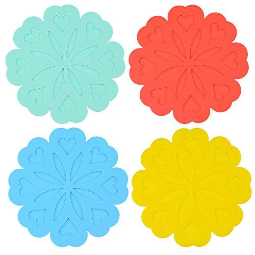 Rhumen Set of 4 Flower-Shape Silicone Non-slip Pot Holder / Trivet Mat / Coaster / Placemat. (Flower) (Flower Trivet)