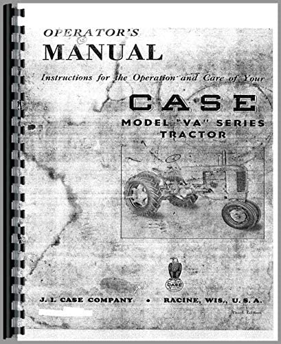 Case VA VAC VAH VAO VAS Tractor Operators Owners Manual w// Eagle Hitch