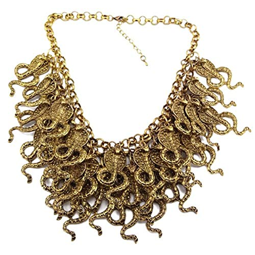 Chunky New Ladies Metal Multi Layered Cluster Cobra Snake Choker Necklace(WIIPU-G63) (Multi Snake Strand)