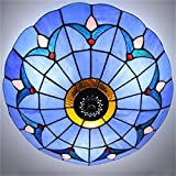 European Flower Shape Pendant Light Ceiling Lighting Stained Glass in Tiffany Style (Blue)