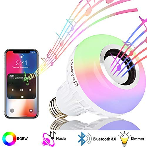 Bulb Light Speaker Bluetooth E26 LED Music Bulb with Bluetooth Speaker, RGB Changing Color Smart Wireless Lamp for Bedroom Enabled Neon Bulbs Decoration