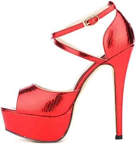 764d5ee9448e ZriEy Women Sandals 14CM 5.5 inches High-Heeled Peep Toe Platform Party  Sandals for