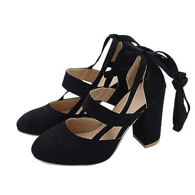 78062c9c6c16 chegong Women s Fashion Thick High Heel Pumps Closed Toe Straps Platform  Sandals Black 36