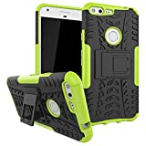 Google Pixel XL Case, MCUK Heavy Duty Rugged Dual Layer - Soft/Hard Shell 2 in 1 Tough Protective Cover Case with Kickstand for Google Pixel XL (Green)