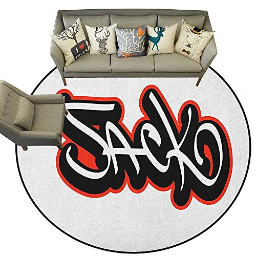 Hip Hop Play Carpet - Jack,Living Room Round Rugs Graffiti Font Style Male Name Hip hop Design Urban Modern Typography D72 Home Decor Carpets Kids Play Rug