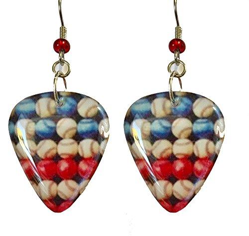 Patriotic Red White Blue Baseball Guitar Pick Dangle Earrings (GP019)