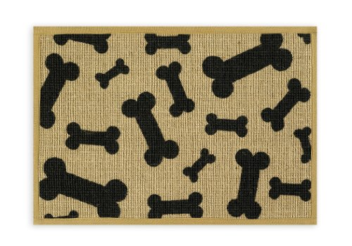 Buddy's Line Natural Jute Pet Placemat, Black Bone/Natural