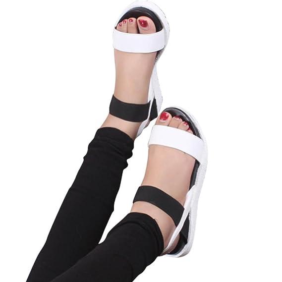 002f44f6 ZARLLE Sandalias Mujer Verano Plataforma Cuero Verano Zapatillas Deportivas Zapatos  Planos Bajo De SeñOras Chanclas Zapatillas De Planas Zapatos De Tobillo ...