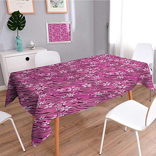 SCOCICI1588 Linen Water Resistant Tablecloth Print Rose on Striped Tiger Skin Background Design Pink Black Washable Table cloth Dinner Kitchen Home Decor-W54 x L72 ()