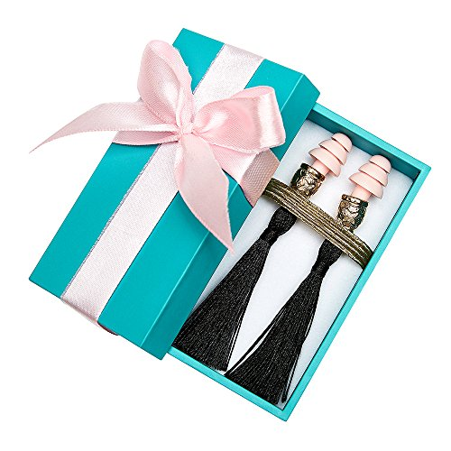 Gift Boxed Earplugs, Breakfast at Tiffanys, Black Tassel, Artisan - Discount For Tiffany Co And
