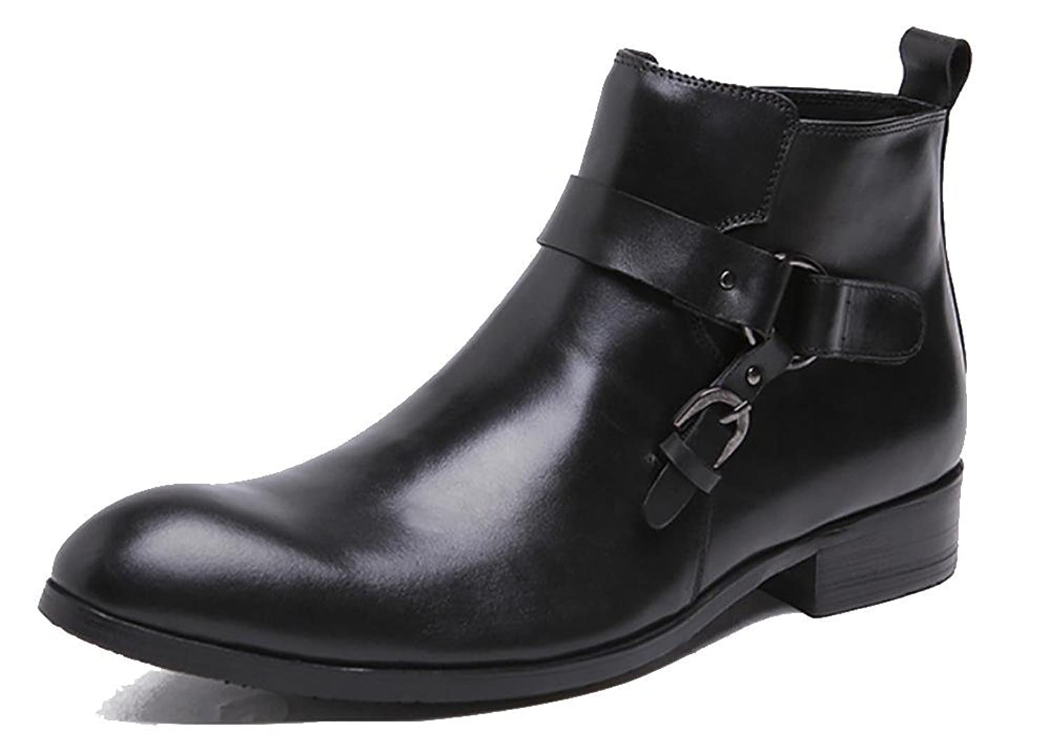 Men 's European Version Of The Leather High Side Zipper Buckle Boots