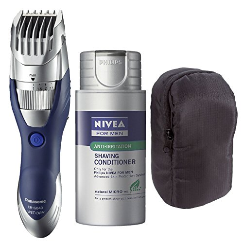 Panasonic ER-GB40-S Cordless Moustache & Beard Trimmer with Norelco HS800 Refill Lotion and Pouch