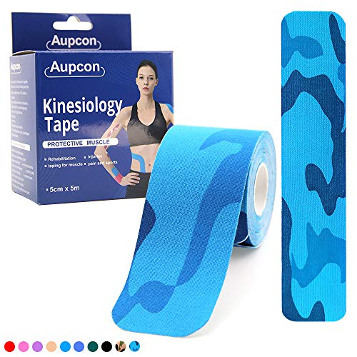 AUPCON Precut Kinesiology Tape Sports Muscle Tape Breathable Hypoallergenic Latex Free Water Resistant Ideal Pain Relief for Knee Shoulder Elbow Ankle Injury Recovery Therapeutic Aid Blue ()