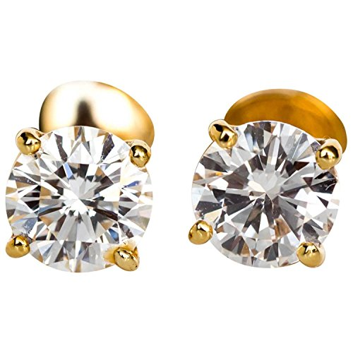 Diamond Stud Earrings 14K Yellow Gold Screw Backs (1/3cttw, GH/SI2) by Diamond2Deal