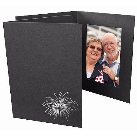 Foil Fireworks on black cardboard photo folder Our price is for 50 units - 4x6 by SendAFrame