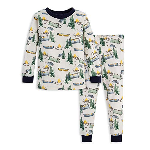 Burt's Bees Baby Unisex Baby Pajamas, Tee and Pant 2-Piece PJ Set, 100% Organic Cotton, Camper's Paradise, 12 Months