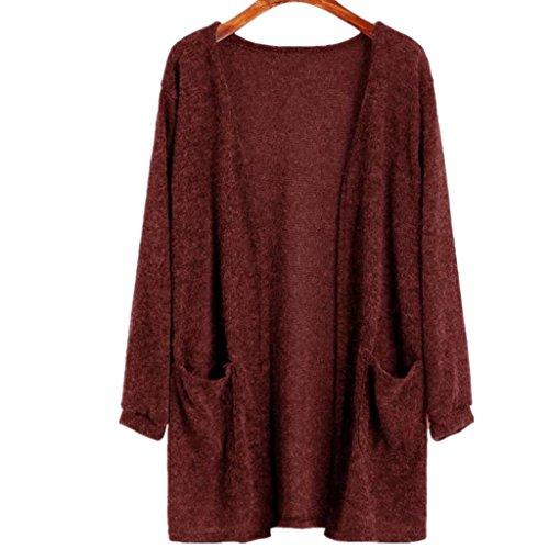 Amlaiworld Winter Kaninchenplüsch pulli damen warm Stricken Lang Strickjacken Rot