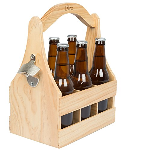 Wooden Beer Caddy Carrier w/ Bottle Opener and Removable Inserts ()
