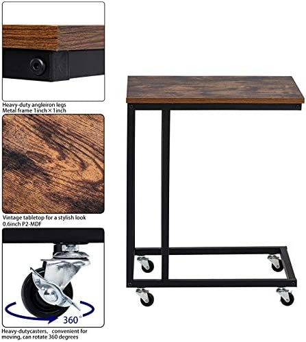 home, kitchen, furniture, living room furniture,  tables 5 picture Yasmine Slide Under Sofa Tables, Industrial Mobile Snack deals