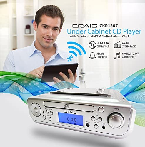Craig Under Cabinet Cd Player Alarm Clock Am Fm Radio Bluetooth