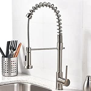 VCCUCINE Best Modern Commercial Brushed Nickel Pull Out Sprayer Single Handle Kitchen faucet, Single Lever Kitchen Sink Faucets Without Deck Plate