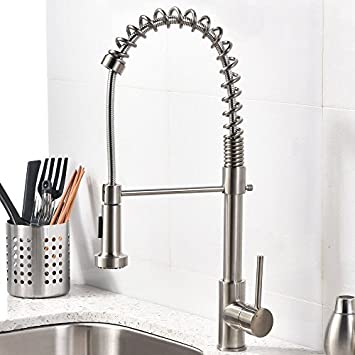 VCCUCINE Best Modern Commercial Brushed Nickel Pull Out Sprayer Single  Handle Kitchen Faucet, Single Lever