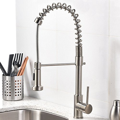 Modern Commercial Brushed Nickel Pull Out Sprayer Single Handle Kitchen faucet, Single Lever Kitchen Sink Faucets Without Deck (Spring Plate Grommets)