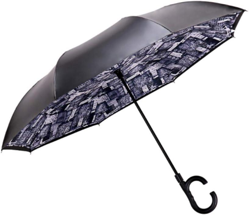QQYSD LYX Reverse Umbrella Color : Purple Paradise Umbrella Sunny Umbrella Sun Umbrella Parasol Car Umbrella Straight Umbrella Long Handle Umbrella Retro Gray Purple Pink Waterproof Sunscreen