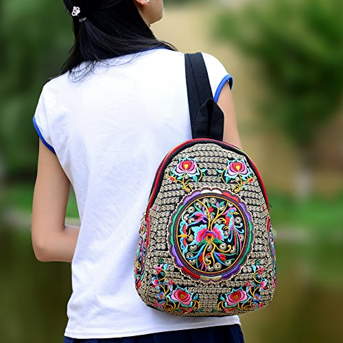 c53278dbf4b8 Vintage Embroidered Floral Ethnic Backpack for Women Handbag School Shoulder  Bag Girl Mini Travel Rucksack Purse