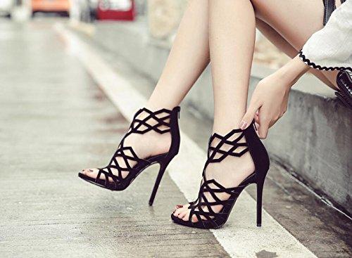 Hollow caseros Zapatos para Negro DANDANJIE Toe Mujer Stiletto Sandalias tacón Point Up Alto de tacón Shoes out de Zapatos Lace Slingback qq4wvH