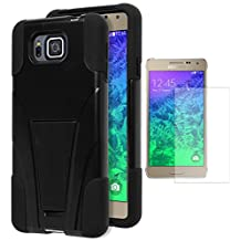 Galaxy Alpha Case, Bastex Heavy Duty Hybrid Protective T-Stand Case - Black Soft Silicone Cover with Hard Black T-Stand Kickstand Case for Samsung Galaxy Alpha G850 **INCLUDES A SCREEN PROTECTOR!**