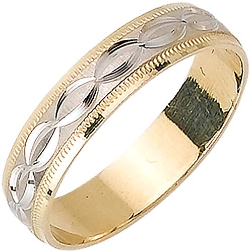 (14k Two-tone (Yellow and White) Gold Modern Patterns Men's Wedding Bands (5mm))