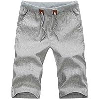 Tartán & Plain de los hombres Slim Fit–Pantalón Cintura Elástica Cordón Lino