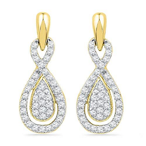 Jewel Tie 10k Yellow Gold Diamond Pear Halo Dangle Earrings (1/3 cttw.) ()