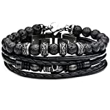 "Tribal Hollywood Necropolis Black Leather and Lava Bead Men's Stacking Bracelet Black Leather | Multi-Strand Design | Stainless Steel Metalwork Detail | 8"" - 8 ½"" Length 